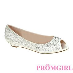 Kennedy Ivory Open Toe Flat at PromGirl.com  #promgirl #shoes #heels