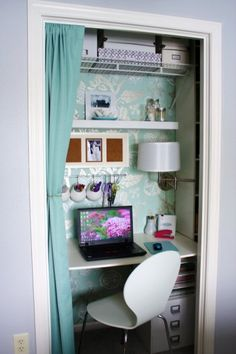 Turquoise and White Office-love the whole layout...but especially the pop of different background!