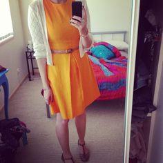 Teacher outfits yellow dress white cardigan