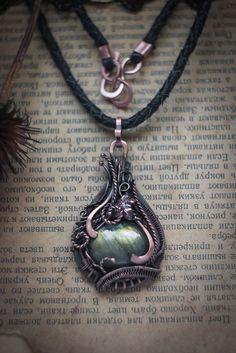 Wire wrapped pendant labradorite necklace Labradorite by WireAjur