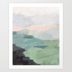 Seafoam Green Mint Black Blush Pink Abstract Nature Land Art Painting Framed Art Print by rachelelise Abstract Nature, Pink Abstract, Abstract Wall Art, Abstract Posters, Abstract Sculpture, Painting Frames, Painting Prints, Painting Art, Sage Green Walls