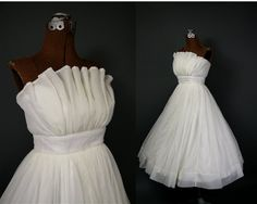 vintage 50's chiffon ruffled tea length wedding dress $580