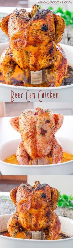 Beer Can Chicken - Delicious flavor from all the spices and the steam from the beer creates an unbelievable juicy, tender and delicious chicken.