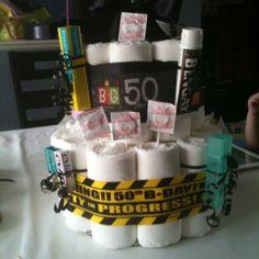 50th Birthday - Depends diaper cake - HA!! :)
