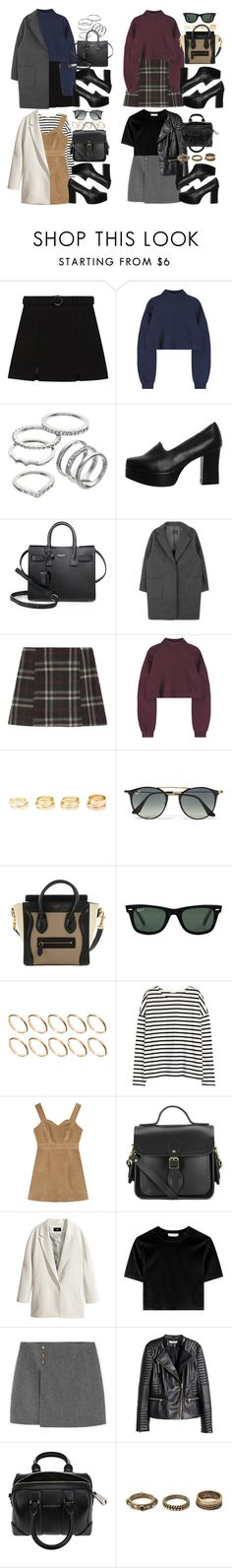 """""""Black Platform Pumps."""" by vany-alvarado ❤ liked on Polyvore featuring Apt. 9, Yves Saint Laurent, Charlotte Russe, Ray-Ban, ASOS, H&M, The Cambridge Satchel Company, Givenchy and Forever 21"""