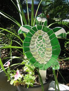 Green Turtle Garden Mosaic by suzygonetopieces on Etsy, $95.00