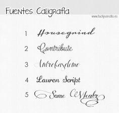 Fácil y Sencillo: 5 Fuentes Gratuitas tipo Caligrafía / Caligaphy Free Fonts