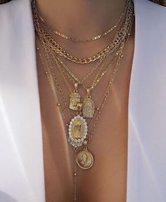 be2c9cf22d1 Layered Gold Pendant Necklace With Cross And Icon Chains Fashion Street  style Jewellery
