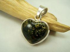 Baltic green amber heart pendant.