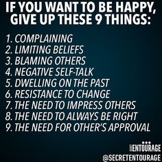 9 things to give up if you want to enjoy life. Tag a friend who would appreciate…