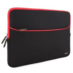 Evecase+17.3-Inch+Ultra-Slim+Neoprene+Padded+Sleeve+Case+Bag+w/+Accessory+Pocket+for+Laptop/Gaming+Laptop/Notebook/Ultrabook+(Black+and+RedTrim)