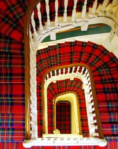 Tartan spiral staircase in The Glenburn Hotel ~ Rothesay, Scotland.  By William on flickr.