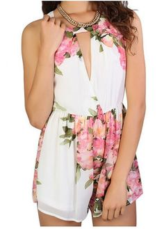 Keyhole Floral Romper - Beige at Lookbook Store