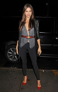 Irina Shayk Wrap Top Irina layered up in this wrap top and leather jacket. Brand: Elise Overland