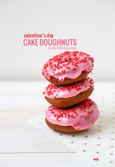 Pink Frosted Doughnuts for Valentine's Day