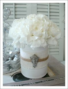 """Shabby Vintage Tin Can Craft; This whole upcycle, recycle, reuse, repurpose thing... is pretty darn cool! Join me and craft """"blah"""" tin cans into shabby, pretty containers with vintage flair and multiple uses!!"""
