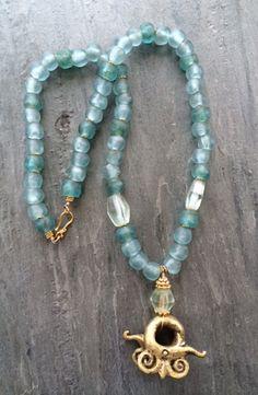 Ghanaian sand cast beads, brass pendant, Dorje designs