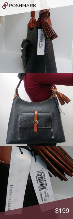 Dooney & Bourke Handbag Leather Black Small Handbag by Dooney & Bourke. Superb quality, made for endurance. Comes from smoke-free, Pet-free and dust free enviroment. Style Hobo. Color Black. Product line: Hobo, Bag lenght: 12,   Star drop: 8, Bag Depth: 8, Bag Heigt: 8, Size Small, Color: Black with Brown Strap Drop, Material: Leather, Closure: Ziper and clip, Dooney & Bourke Bags