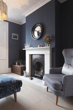 55 Best Living Room Color Schemes Idea [To Date] Navy Living Rooms, New Living Room, Living Room Decor, Navy Blue And Grey Living Room, Farrow And Ball Living Room, Grey Room, Kitchen Living, Dining Room, Living Room Color Schemes