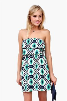 green + navy tribal print dress