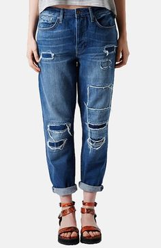 Topshop Moto 'Hayden' Patchwork Boyfriend Jeans (Mid Stone) available at #Nordstrom