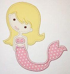 Mermaid Machine Embroidery Applique Design