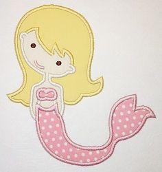 Mermaid Machine Embroidery Applique Design