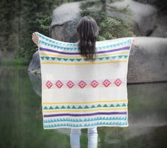 Make this beautiful modern camp blanket by Mama In A Stitch with Lion Brand Modern Baby!