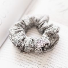 Grey Knitted Winter Hair Scrunchies - Medium Size   Hair Accessories   Hair Ties by FifthElementShop on Etsy https://www.etsy.com/listing/477742310/grey-knitted-winter-hair-scrunchies