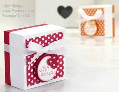 Polka Dot Lidded Box Video Tutorial  Cardstock BASE – 5.5 x 5.5″  Score at 1.5″  on all 4 sides Cardstock LID – 4 9/16 x 4 9/16″  Score at 1″ on all 4 sides DSP – 2 1/4 x 2 1/4