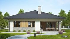 Современный одноэтажный дом с крытой верандой Patio Design, House Design, Modern House Plans, Farmhouse Style, Bungalow, My House, Gazebo, Sweet Home, Outdoor Structures