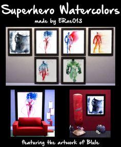 Superhero Watercolors by ERae013 at Adventures in Geekiness via Sims 4 Updates