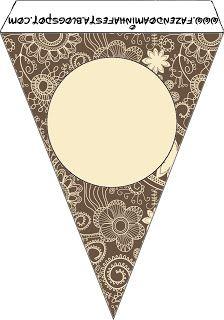 Imprimibles gratuitos de flores en marrón y beige rústico.