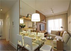 de estar e jantar integradas -Sala de estar e jantar integradas - Condo Living, Home Living, Apartment Living, Living Room, Small Dining, Small Space Living, Home Interior Design, Interior Decorating, Dinner Room