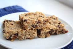 Banana Oat Bars | • 6 tbsp butter or coconut oil, room temperature • 1/4 cup brown sugar (optional) • 1 egg • 1/4 tsp salt • 3 medium bananas, mashed • 2 cups old-fashioned oats • 1/2 cup raisins • 1/4 cup unsweetened shredded coconut • 1/3 cup mini chocolate chips