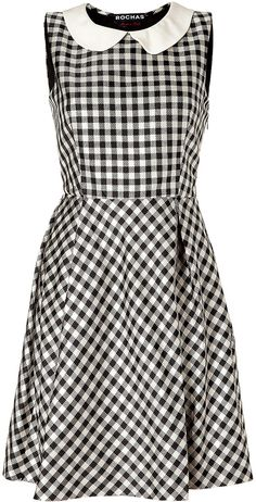 Rochas Pearl/Black Gingham Silk Satin Dress