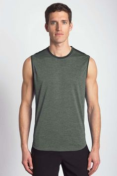 Might Sleeveless Tee Perfect for an active lifestyle, this sleeveless space dye jersey tee will keep you cool and dry.