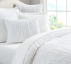 Camille Duvet Cover & Sham #potterybarn $99 Full duvet, $29.50 standard sham or euro sham. Also comes in grey.