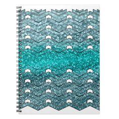 Sparkles teal spiral notebook  #pattern #sparkles #glitter #bright  #metallic #teal #vgf