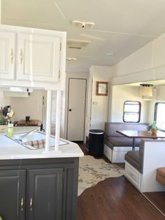 After! Our 4 week fifth wheel makeover DIY camper remodel #ideas #DIY #makeover #fifthwheel #camper #style