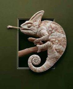 Calvin Nicholls - Chameleon (bas relief paper sculptures)