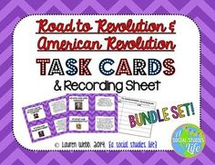 """Road to the American Revolution & American Revolution Task Cards • ★★ These task card sets are a great activity to use for review. I print out a few sets of each, laminate, and have the students use them for review before a test/exam. Or, you can have the students """"find"""" the correct card that corresponds with the correct task card question. It's so fun!"""