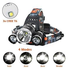 Brightest and Best LED Headlamp 10000 Lumen flashlight - IMPROVED LED, Rechargeable 18650 headlight flashlights, Waterproof Hard Hat Light, Bright Head Lights, Running or Camping headlamps …. For product & price info go to:  https://all4hiking.com/products/brightest-and-best-led-headlamp-10000-lumen-flashlight-improved-led-rechargeable-18650-headlight-flashlights-waterproof-hard-hat-light-bright-head-lights-running-or-camping-headlamps/