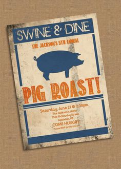 Pig Roast Invitation Template Free Luxury Items Similar to Pig Roast Party Invitation On Etsy Pig Roast Party, Pig Party, Baby Shower Invitation Templates, Party Invitations, Invitation Wording, Invitation Ideas, Pig Pickin, Costume Birthday Parties, Invitations