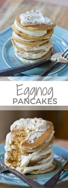 Impress your family and house guests with a stack of festive Eggnog Pancakes topped with creamy Eggnog Whipped Cream. | @KristinaLaRueRD | loveandzest.com
