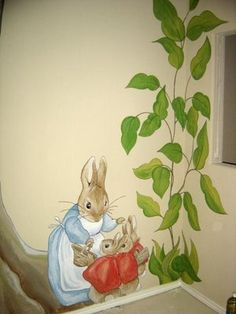 Peter Rabbit Nursery Mural-painted one of Peter Rabbit, his tree and family for my first grand daughter's new bedroom(1994)....it turned out very nice. Glad I had the experience.