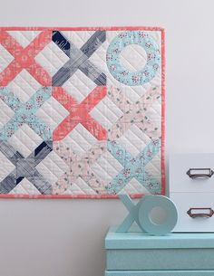 The Love Letter Mini Quilt is perfect for left over layer cake squares or fabric scraps! Bonus instructions are included to turn your mini into a. Small Quilts, Mini Quilts, Baby Quilts, Heart Quilts, Children's Quilts, Colorful Quilts, Diy Craft Projects, Sewing Projects, Sewing Ideas