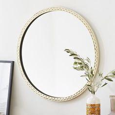 """Thin Textured Brass Round Mirror #westelm 30"""" round $239 on sale powder and guest?"""