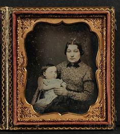 Sixth Plate Daguerreotype Portrait of a Mother and Her Deceased Child