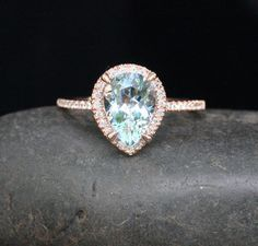 14k Rose Gold 10x7mm Aquamarine Pear and Diamonds Wedding or Engagement Ring (Choose color and size options at checkout)
